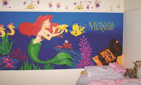 mermaid mural for child's bedroom