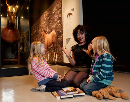 National Storytelling Laureate Katrice Horsley in the Once Upon A Wartime exhibition at War Museum North, Salford, Manchester