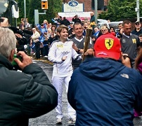 Claudia Thomas With Olympic Torch, Stockport, Day 37