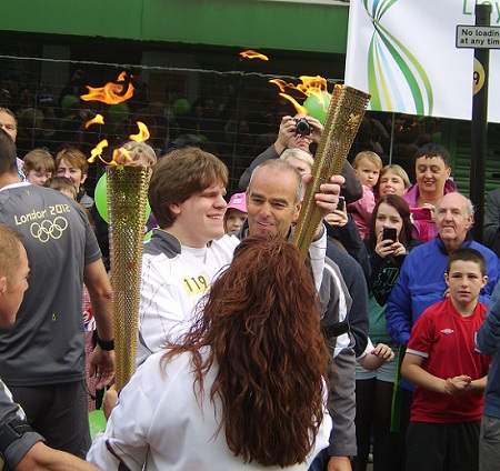 Richard Howarth With Olympic Torch in Westhoughton, Bolton, 31 May