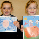 Alexandria McLelland and Liberty MacLeod with their winning paintings