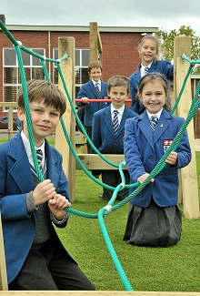 Children at The King's School's New Junior Playground