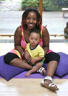 Vanessa and Miles at Prenatal Yoga Class