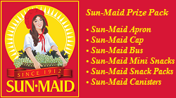 Sun-Maid Prize Pack Apron, Sun: Apron, Cap, Bus, Mini Snacks, Snack Packs, Canisters