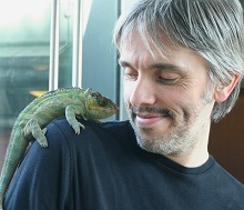 John Hamilton and a Lizard at the Vivarium of Manchester Museum