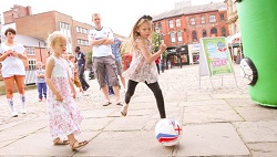 Bolton Market Place | Chloe tries her luck with penalty shoot-out