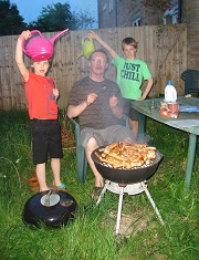 Barbeque with kids - they want to do everything themselves, try to choose safe activities