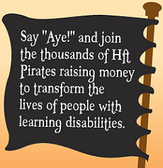 "Pirate flag ""Join Hft Pirates to transform the lives of people with learning disabilities"""