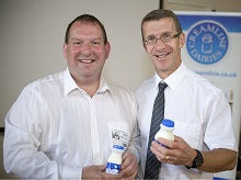 Creamline milkman Jon Ryan and Didsbury C of E headmaster Mr. Matt Whitehead