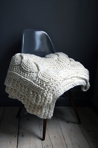 Chunky Hand Knitted Throw Blanket from Rockett St George