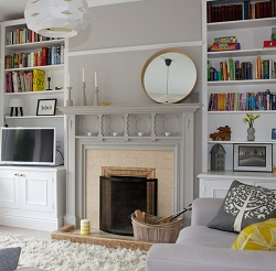Mirror Placed Asymmetrically above Fireplace