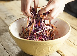 Red Cabbage, Winter Root and Pomegranate Slaw
