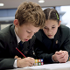 Cheadle Hulme School Pupils, Elizabeth Pollitt and Sam Murphy, solving the problems in the National Young Mathematicians' Award 2014.