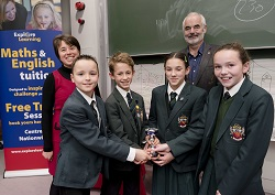 Cheadle Hulme School Pupils (left to right) Luke Ismay, Sam Murphy, Elizabeth Pollitt and Esme Brown with Sir David Spiegelhalter and Carey Ann Dodah in the National Young Mathematicians' Awards 2014