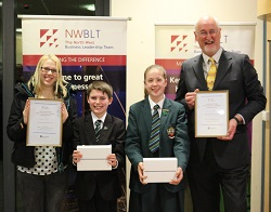 Alice Brown, Cheadle Hulme School, Year 7 Winner, Louis Swift, Sandymoor School in Runcorn, Year 8 Winner and two of the competition judges, North West Schools Science Competition 2014.