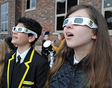 Stockport Grammar Senior School pupils are watching the solar eclipse.