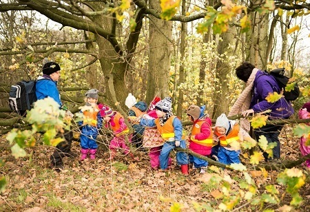 Outdoor activities at Elmscot Day Nursery in Altrincham