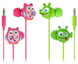 My Doodles In-Ear Headphones, owl and alien characters