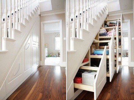Under stairs cupboard with moving shelves
