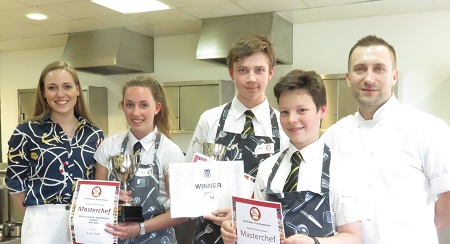 Oliver Ensor Adams, Matthew Byle and Lucy Snell with the Head Chef and Operations Manager at Grill on the Edge | Buxton Road school's annual Junior Masterchef competition 2016 finalists