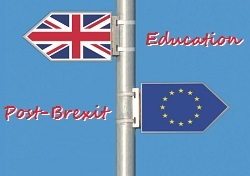 Sign pole with British and EU flags