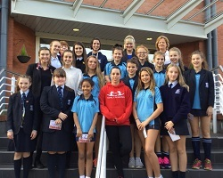 Beth Tweddle with AESG sports scholars