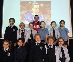 Beth Tweddle with Alderley Edge Junior girls