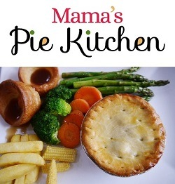 Mamas Pie Kitchen Logo and Meal with a Pie