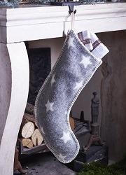 Grey wool Christmas Stocking with stars