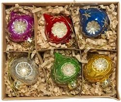 National Trust set of vintage dimple glass bauble decorations