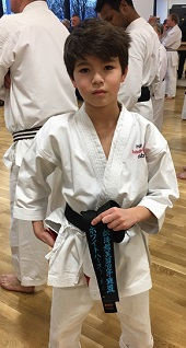MGS student Hugo Whitehurst with his newly acquired black belt
