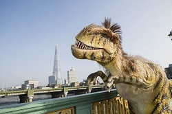 dinosaur and the Shard skyscraper, London