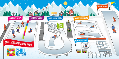 Chill Factore - Illustration for all the snow activities at the centre