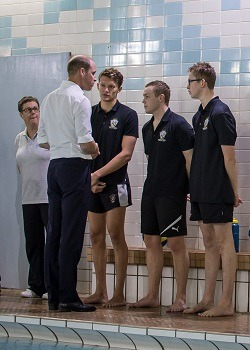 Prince William speaking with water polo team players at Bolton School   Royal Visit to Merseyside 2017