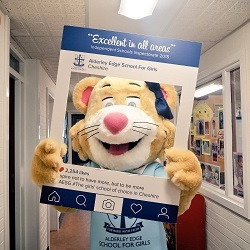 Liberty the Lioness, new AESG junior mascot on School Open Day