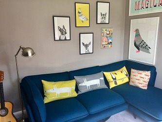 Design ideas for blue, grey and yellow lounge