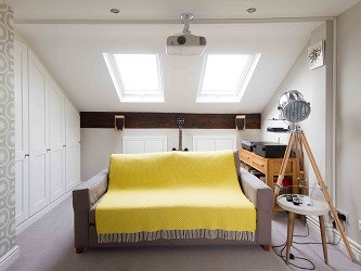 Yellow and grey loft for relaxation