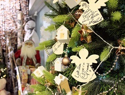 Christmas tree with Coronation Street signed decorations at the Francis House Children's Hospice 'Festival of Trees'