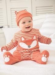 Fox Applique Baby Sleepsuit | JoJo Maman Bébé