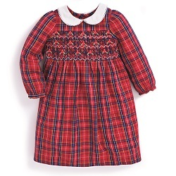 JJMB - Red Tartan Smocked Dress