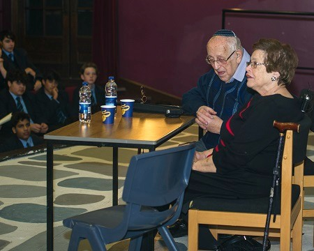 Ruth and Werner telling their stories at MGS Holocaust Memorial Day 2018