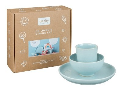 Heritage Cloud Aqua childrens dining set from Denby Pottery